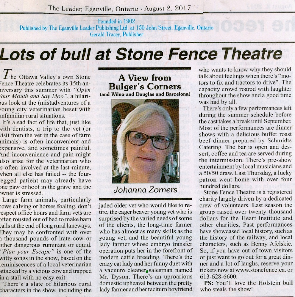 Eganville Leader review of Stick Out Your Tongue and Say Moo